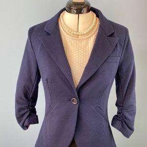 ModCloth, Navy, jersey knit, 3/4 sleeve blazer